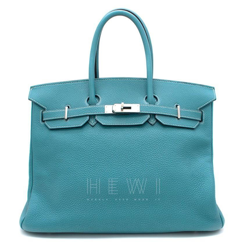 Hermes Togo Leather Blue Jean 35cm Birkin