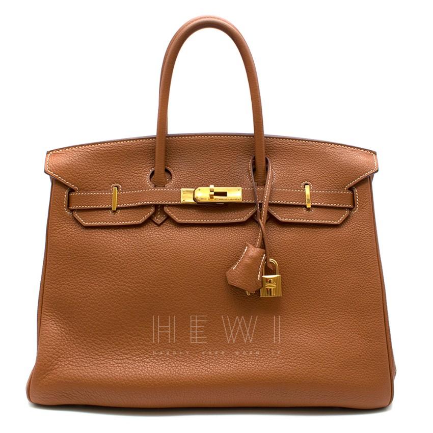 Hermes Clemence Leather Gold 35cm Birkin Bag