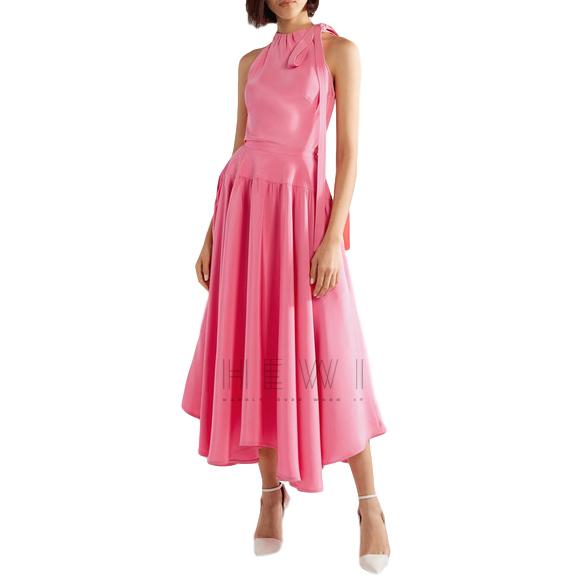 Calvin Klein 205W39NYC Bow-embellished silk-cady midi dress