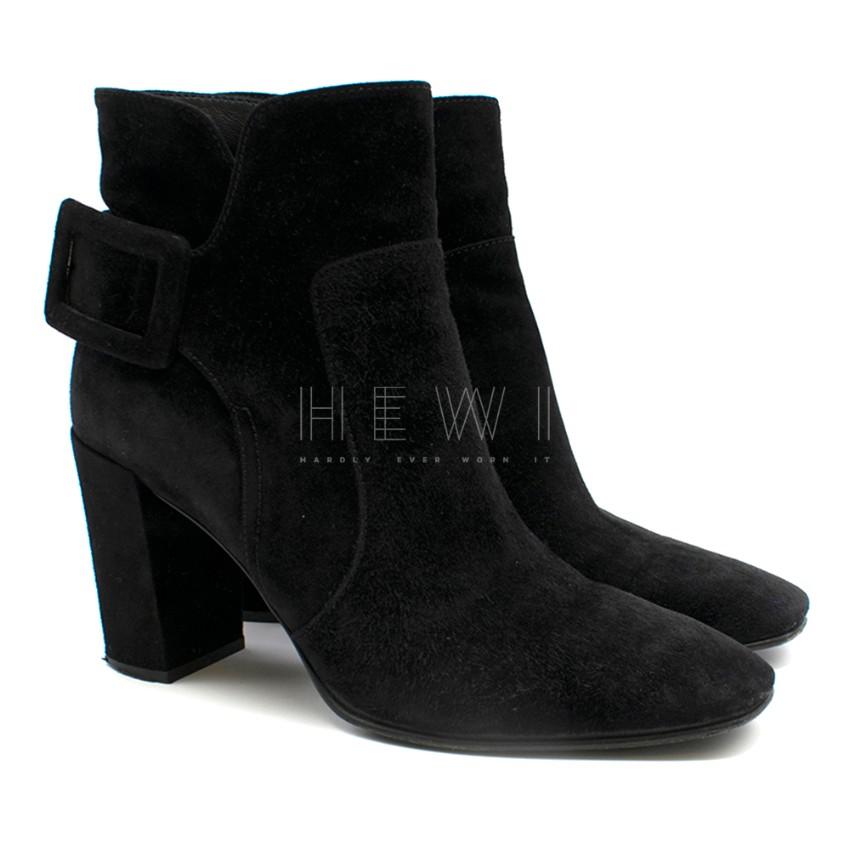 Roger Vivier Buckle-detailed Black Suede Ankle Boots