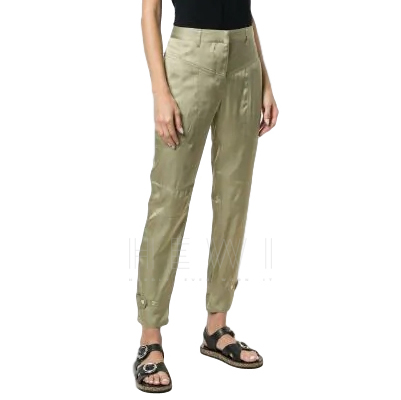 Barbara Bui Olive Green Classic Slim-fit Trousers
