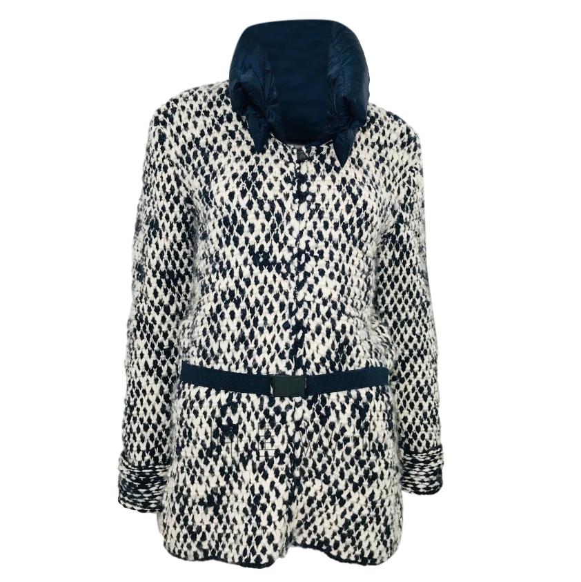 Moncler black & white tweed coat