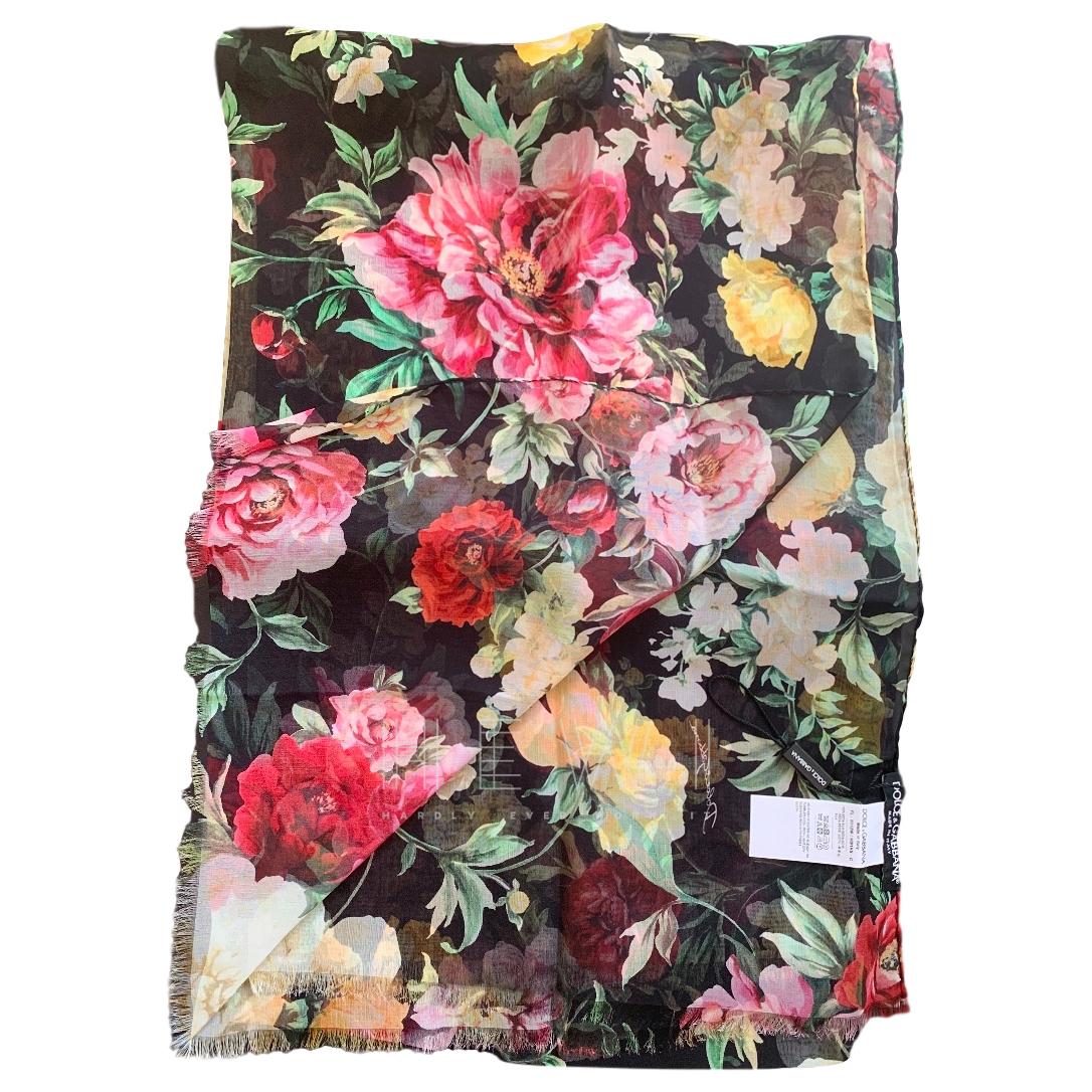 Dolce & Gabbana Silk Peony Print Silk Wrap Scarf