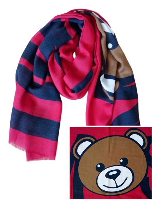 Moschino Cashmere Silk & Wool Teddy Bear Scarf