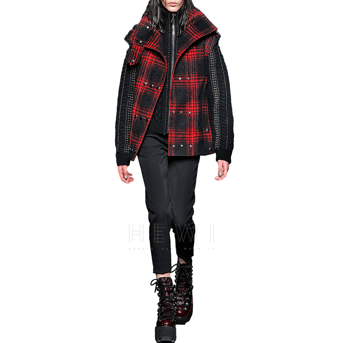 Alexander Wang Buffalo Plaid Brushed Wool Vest