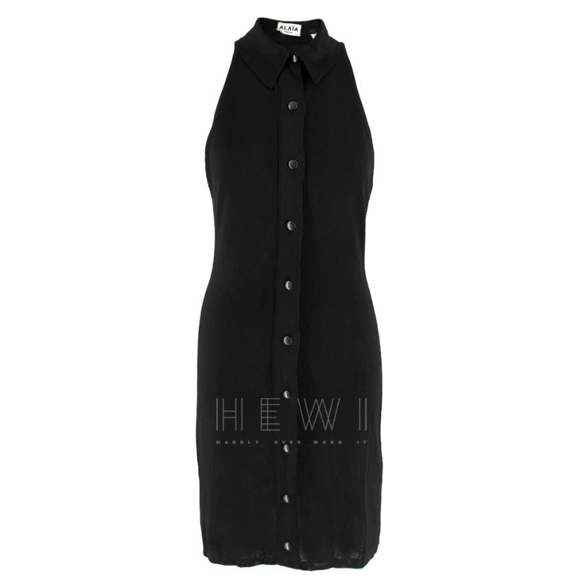 Alaia Black Silk Blend Knit Sleeveless Shirt dress