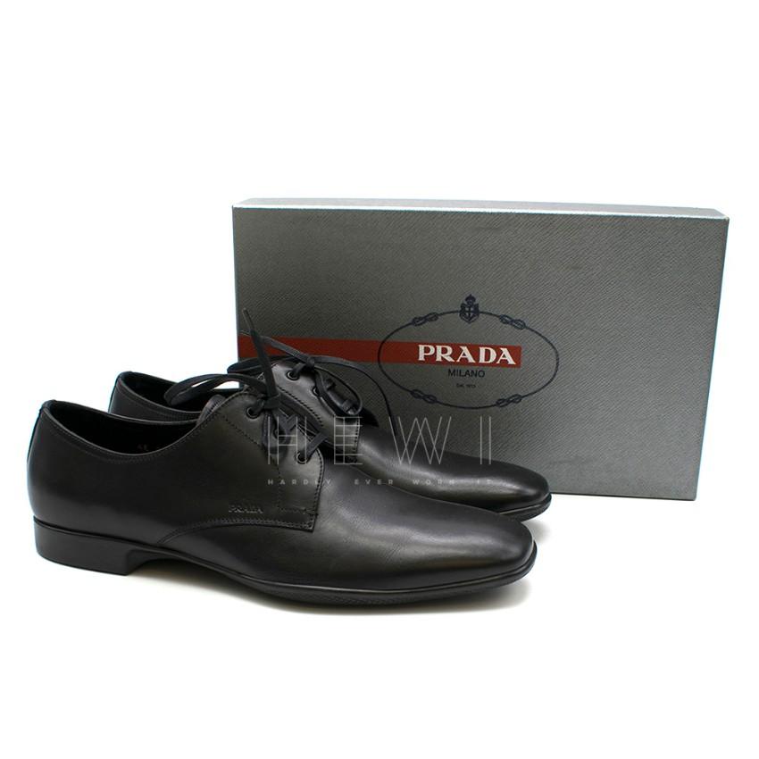 Prada Men's Black Calf Leather Oxfords