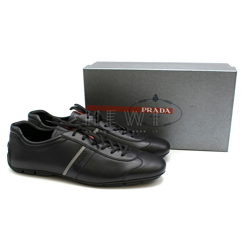 Prada Men's Black Leather Lace-Up Trainers