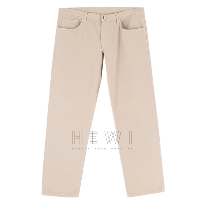 Loro Piano beige straight leg trousers
