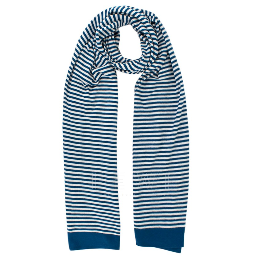 Loro Piana Blue & White Striped Cashmere Scarf