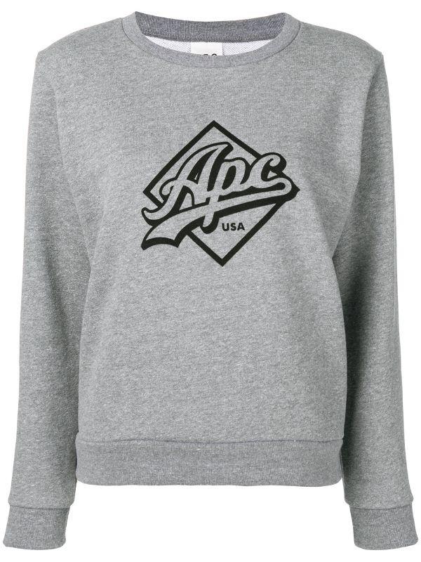A.P.C Grey Kimberley logo print sweater