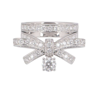 Chanel White Gold Diamond Ribbon Ring - New Fine Jewellery Collection