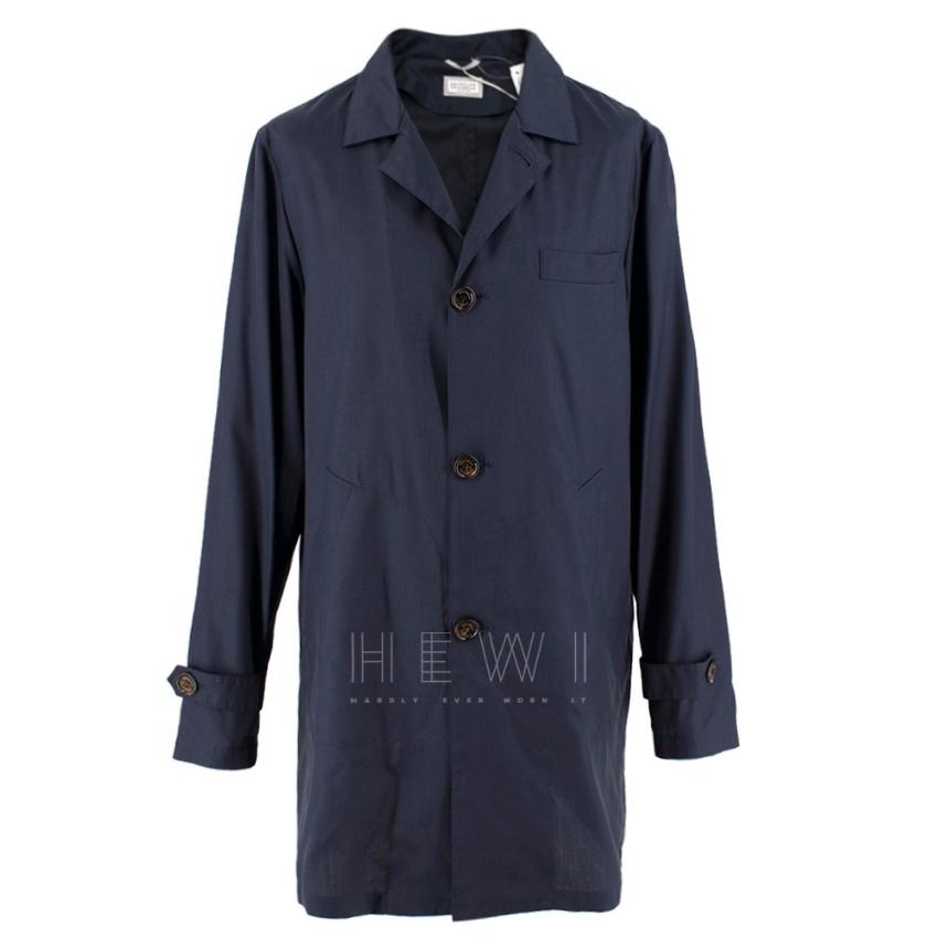 Brunello Cucinelli Navy Blue Wool Lightweight Jacket
