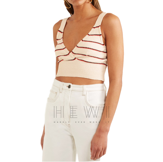 Sonia Rykiel Cropped Striped Cotton-Blend Top