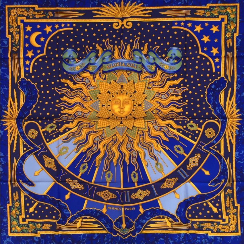 Hermes blue CARPE DIEM  Silk Scarf 90