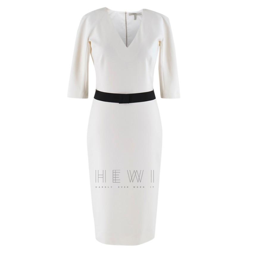 Victoria Beckham white belted midi dress