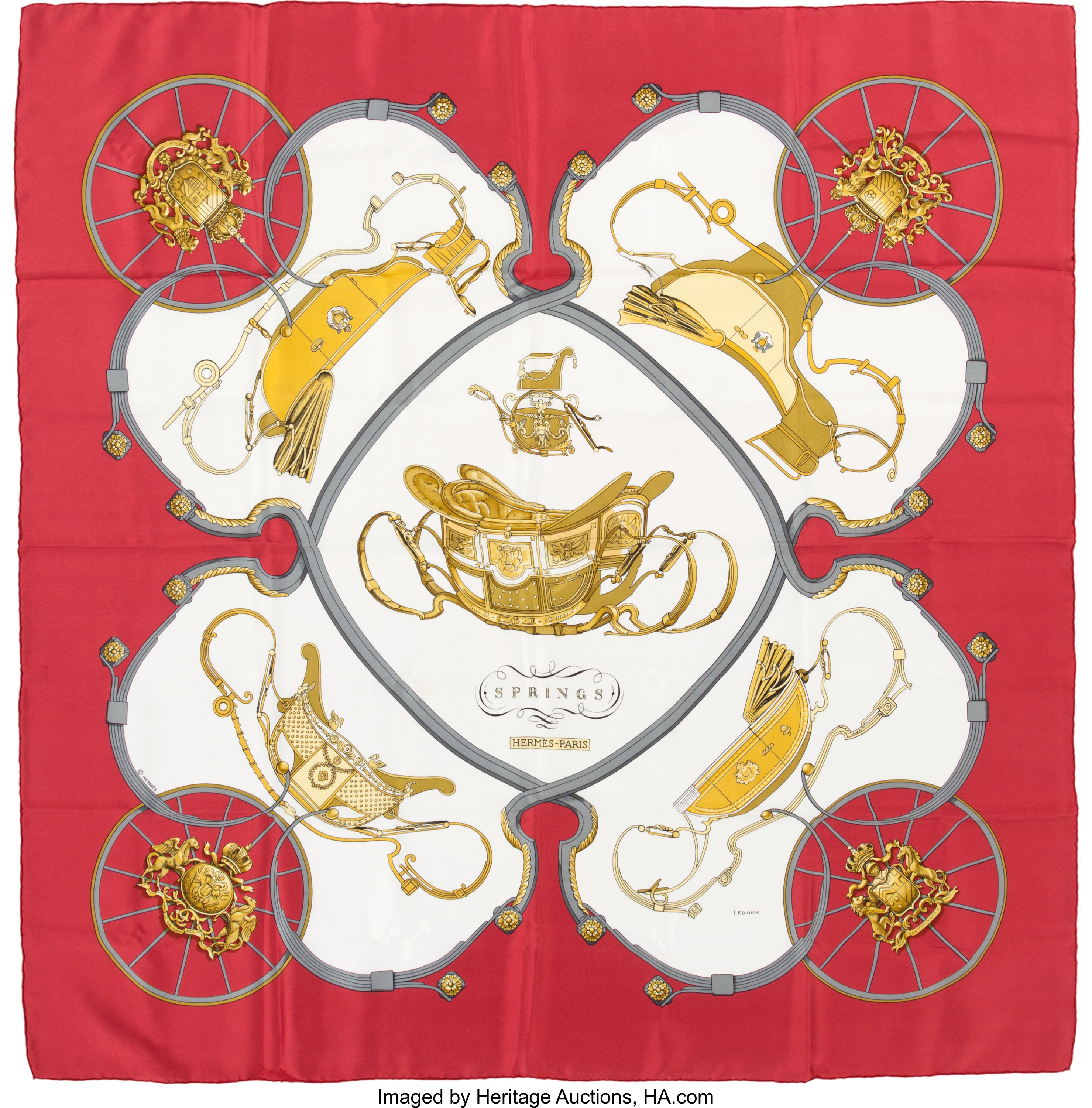 Hermes Springs by Philippe Ledoux Silk Scarf 90