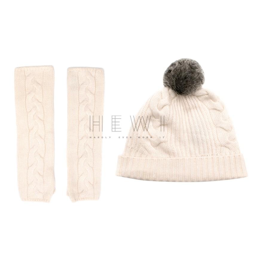 N.Peal Cream Cashmere Hat & Fingerless Glove Set