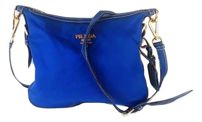Prada Blue Tessuto Nylon Shoulder Bag