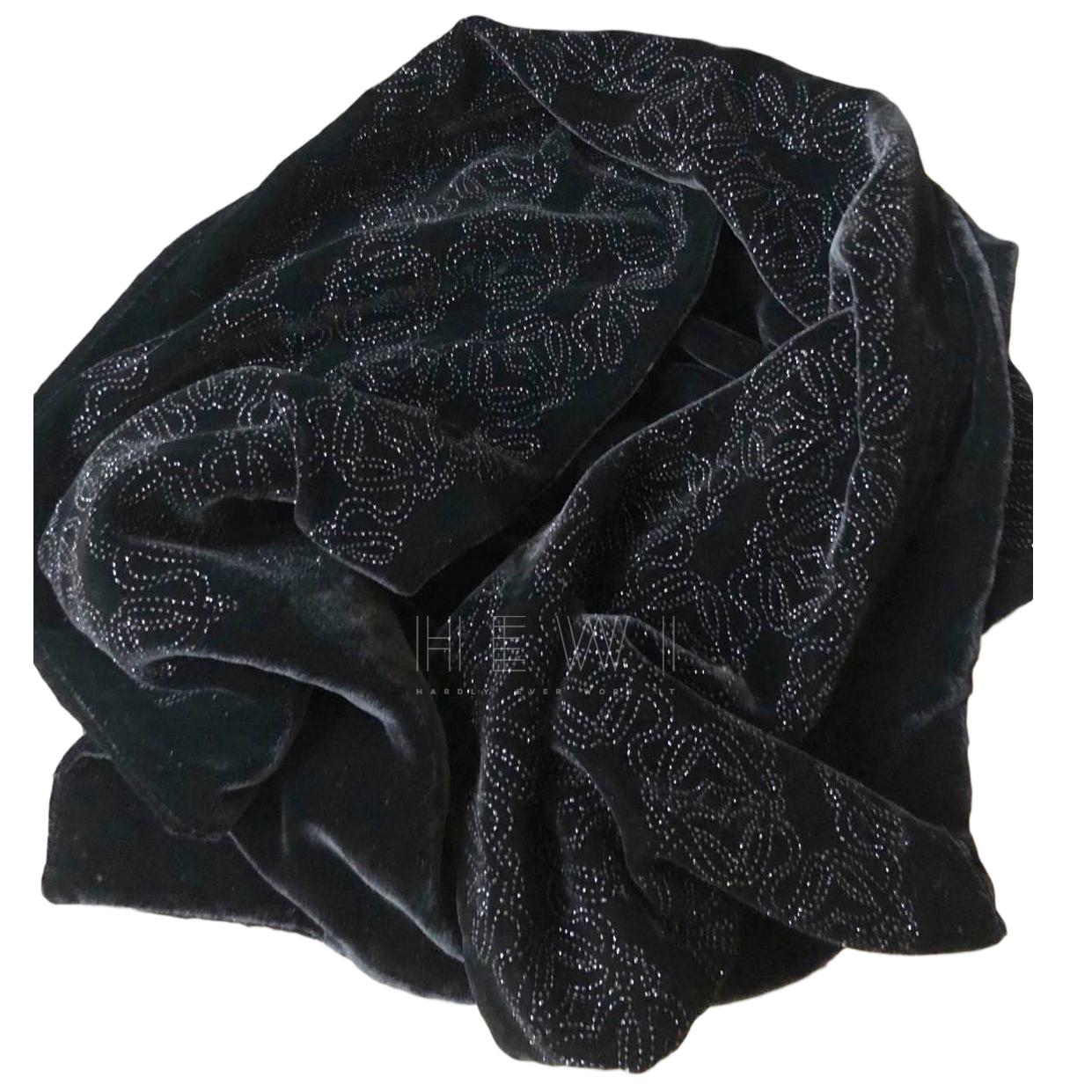 Loewe Black Logo Embroidered Velvet Stole