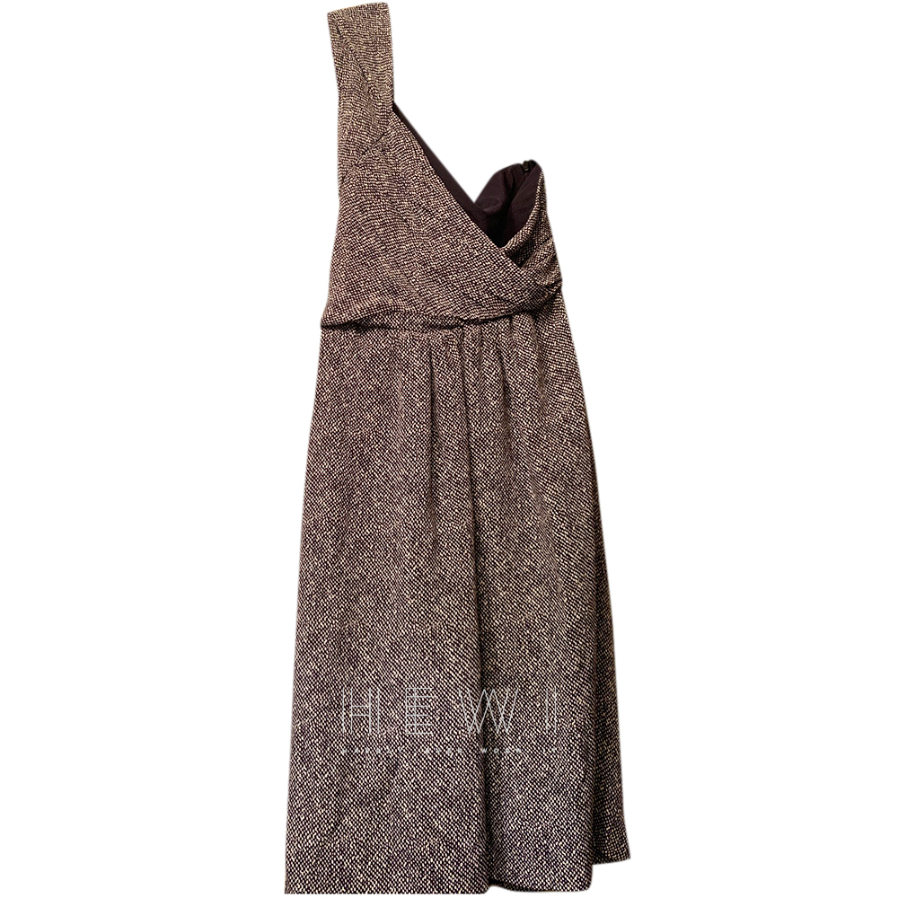 Fendi Silk Blend One Shoulder Printed Dress