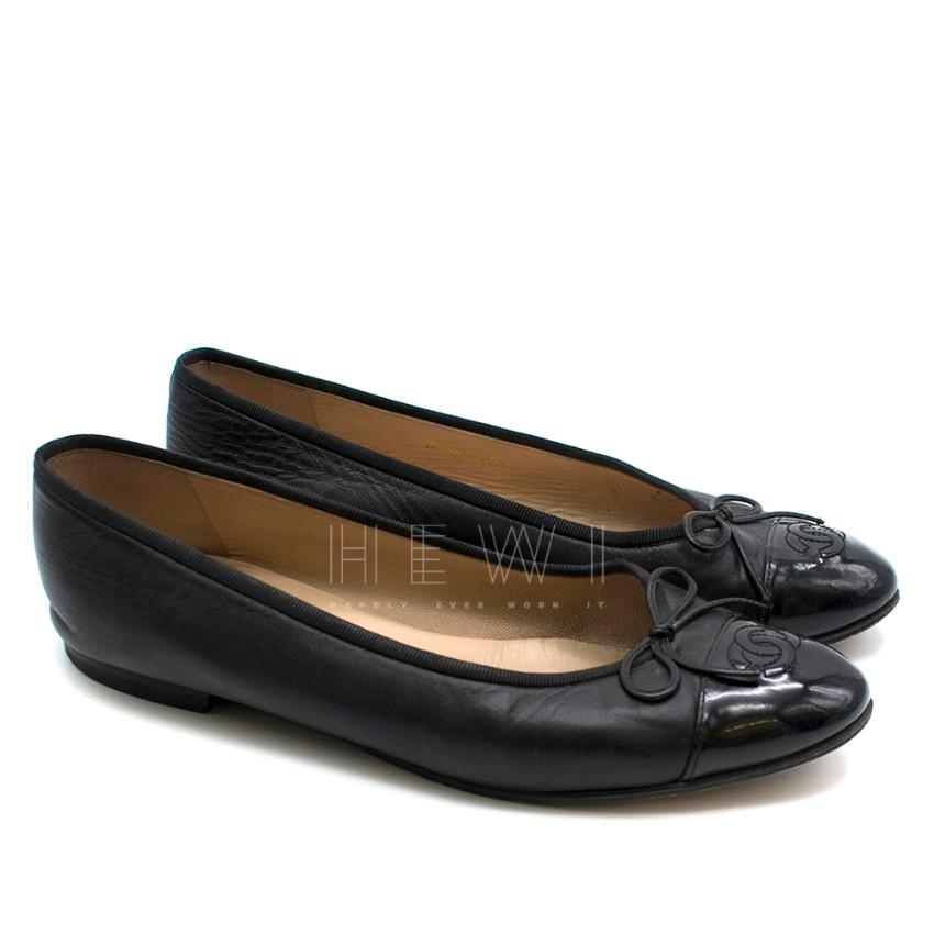 Chanel Black Patent Cap-Toe Ballerina Flats