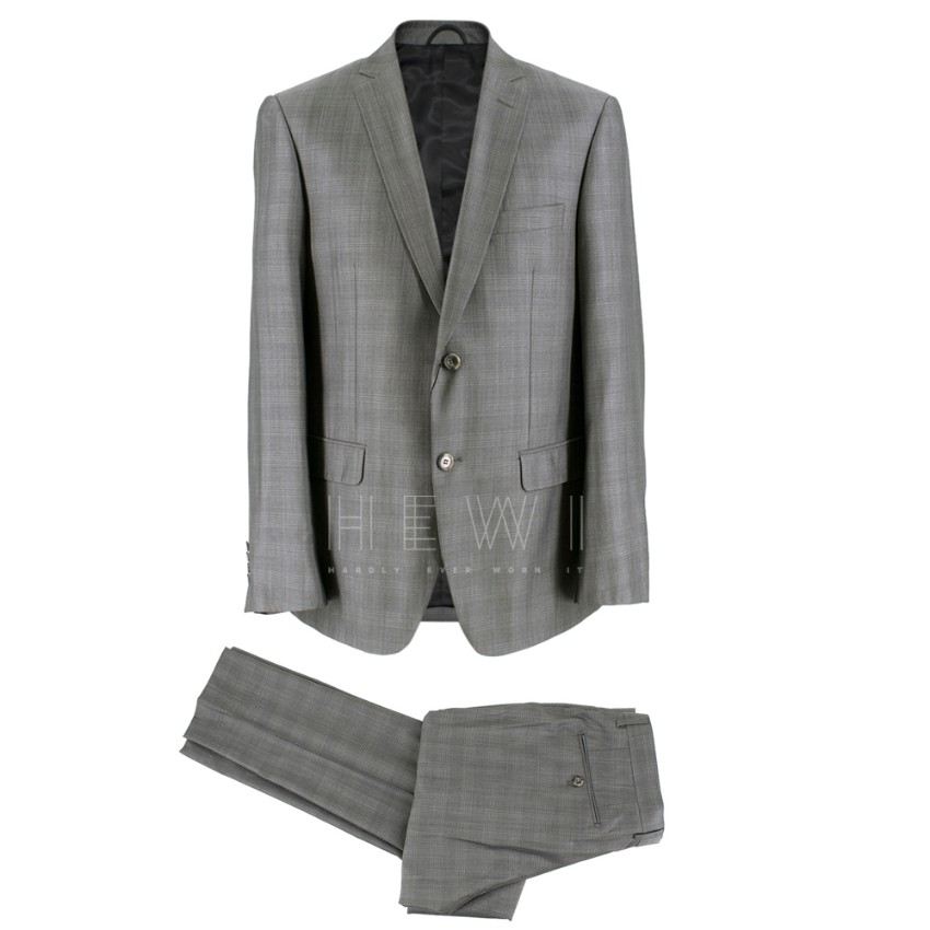 Balmain Men's Grey Check Slim Fit Suit