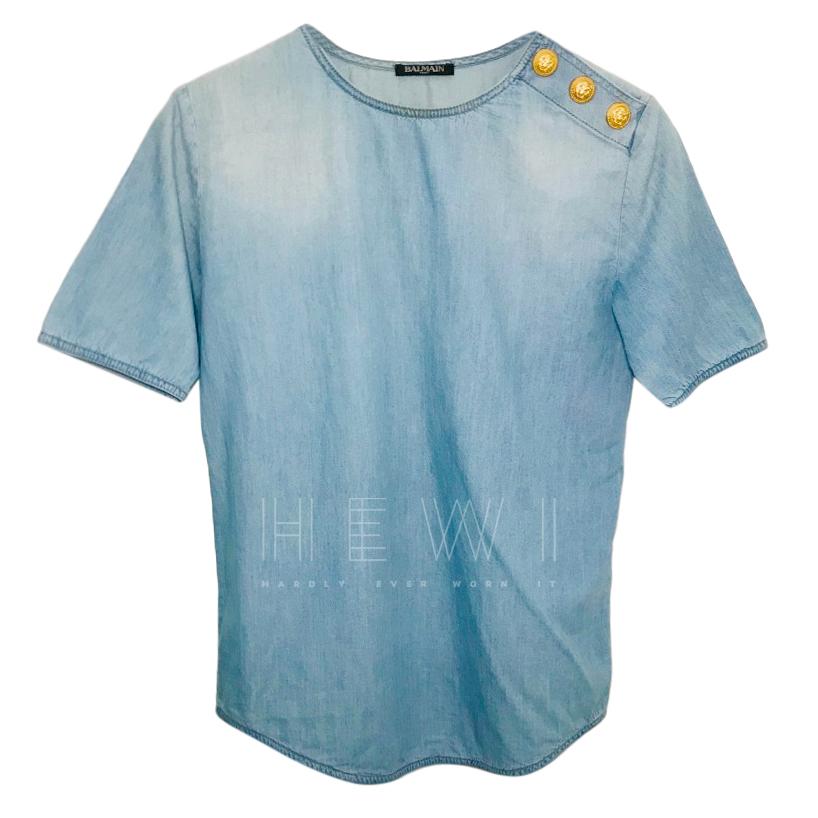 Balmain Denim Short Sleeve Top