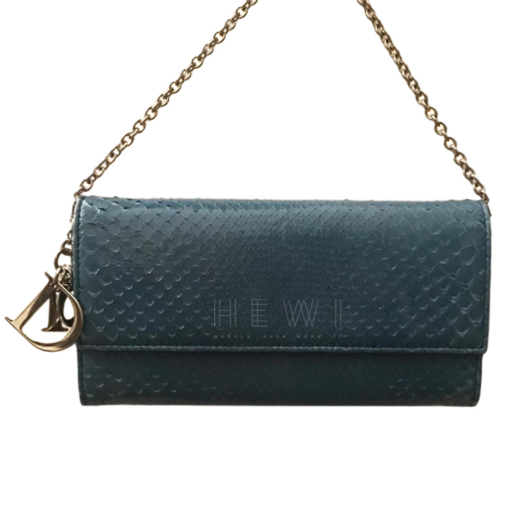 Dior Blue Python Lady Dior Portefeuille Wallet on Chain,