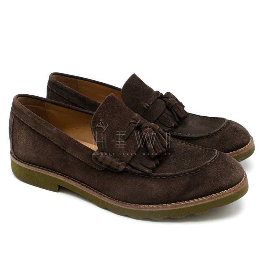 Louis Vuitton suede brown tassel loafers