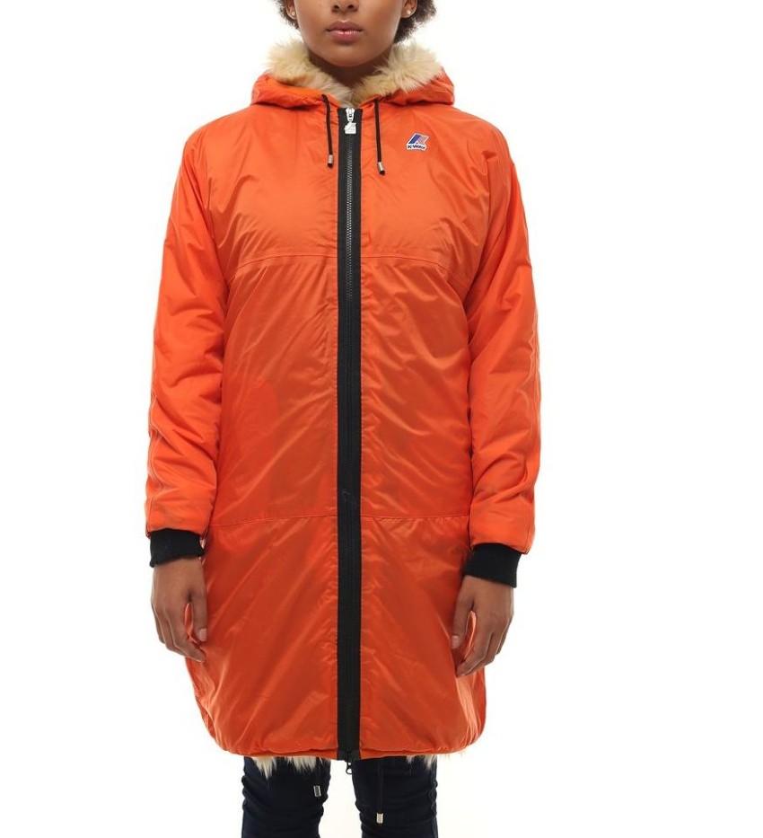 K-WAY Claudette Remix Parka Orange Faux Fur Lined Hooded Warm Jacket