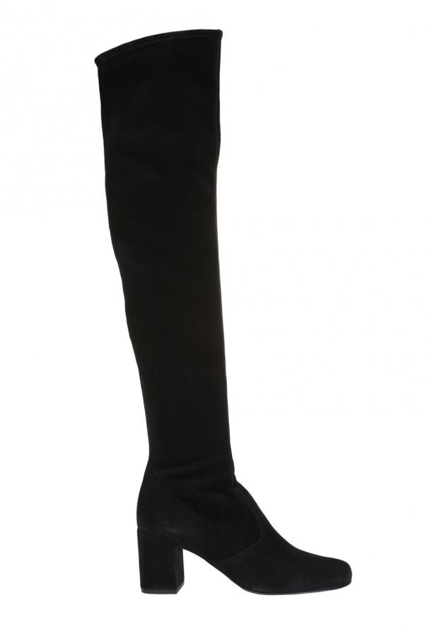 Saint Laurent black suede over the knee boots