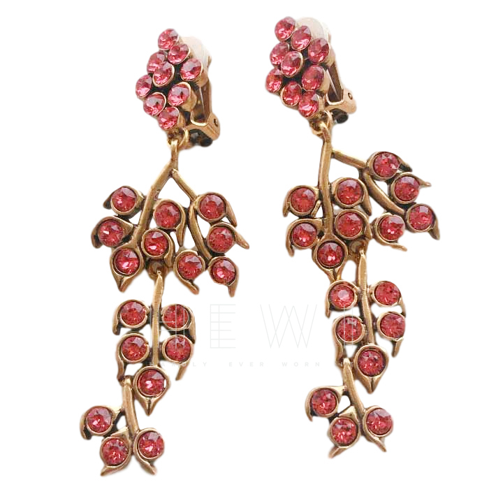Oscar De La Renta Pink Crystal Floral Drop Earrings