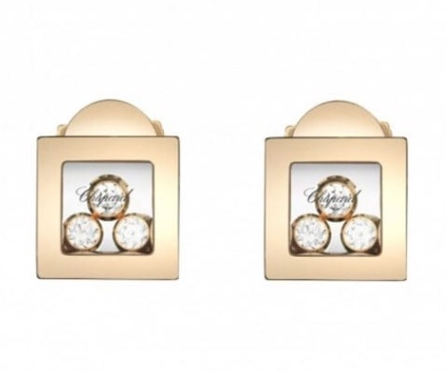 Chopard 18ct Rose Gold Happy Diamonds Square Earrings