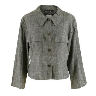 Chanel Grey Linen Short Jacket