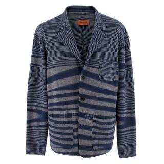 Missoni Blue & Grey Men's Wool Blend Cardigan