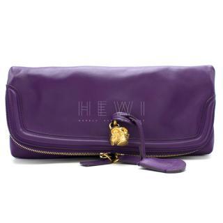 Alexander McQueen Purple Skull Padlock Fold-Over Clutch Bag