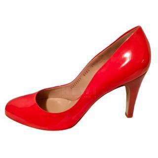 Salvatore Ferragamo Red Patent Pumps UK 7