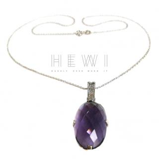Bespoke Amethyst & Diamond Pendant Necklace