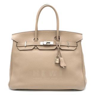 Hermes Argile Taurillion Clemence Leather 35cm Birkin