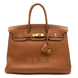 Hermes Clemence Leather Gold 35cm Birkin Bag