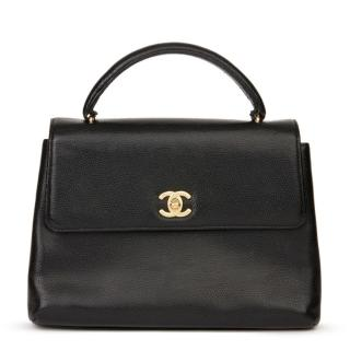 Chanel Vintage Black Caviar Leather Kelly Bag