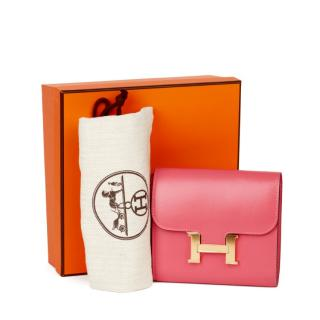 Hermes Tadelakt Rose Lipstick Constance Wallet