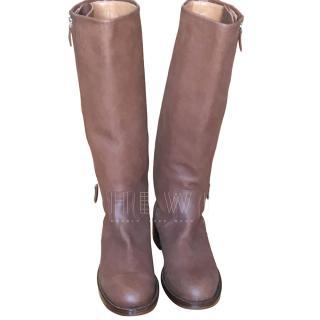 Hermes Tan Flat Leather Flat Boots