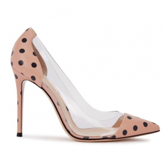Gianvito Rossi Plexi 100 Polka-Dot Leather Pumps in Pink