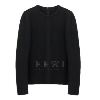 Chloe Long Sleeved Top In Washed Wool Jersey With Back Zip