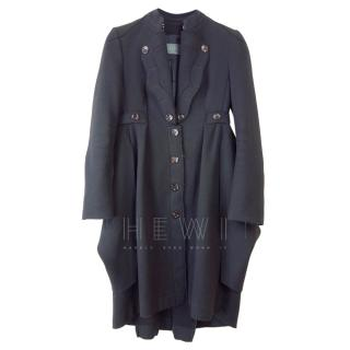 McQ Black Tailored Wool & Cashmere Coat
