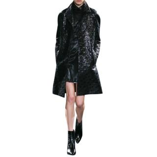 Saint Laurent Single Breasted Jacquard Coat