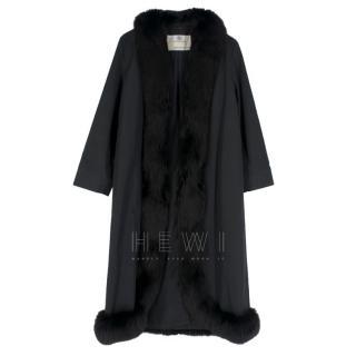 Aquascutum Black Fox Fur Trim Coat