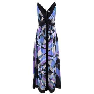 Emilio Pucci Asymmetric Printed Vintage Silk Gown